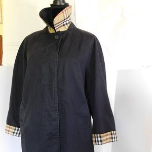 BURBERRY BLACK NOVA CHECK TRENCH COAT